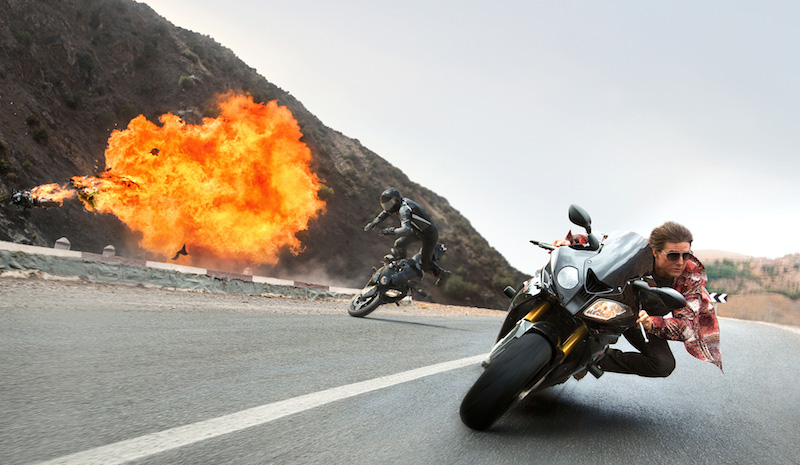 Ethan Hunt (Tom Cruise) is pursued by assailants on motorbikes.