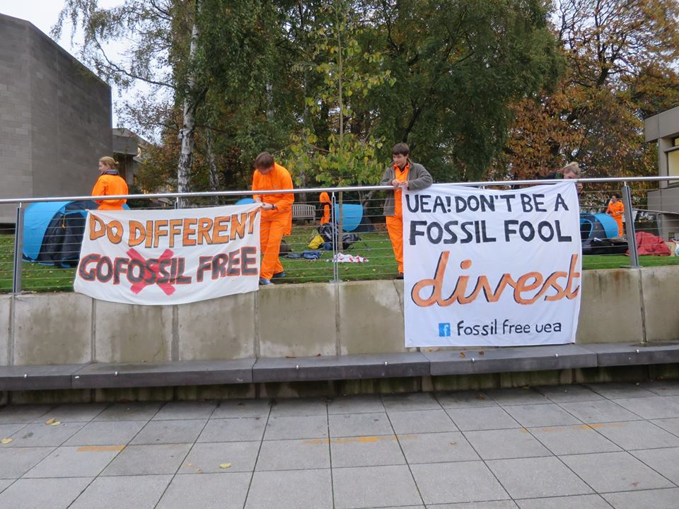 Fossil Fuel UEA campaigners outside the Vice-Chancellor's office. Photo: Fossil Fuel UEA, Facebook