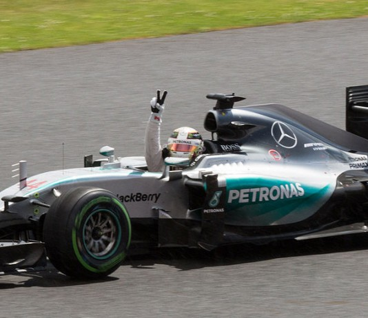 Lewis Hamilton for Mercedes. Photo: wikimedia, Joel Spencer