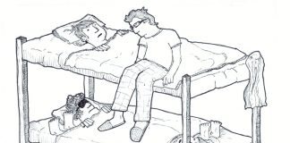 bunk beds, Dougie Dodds