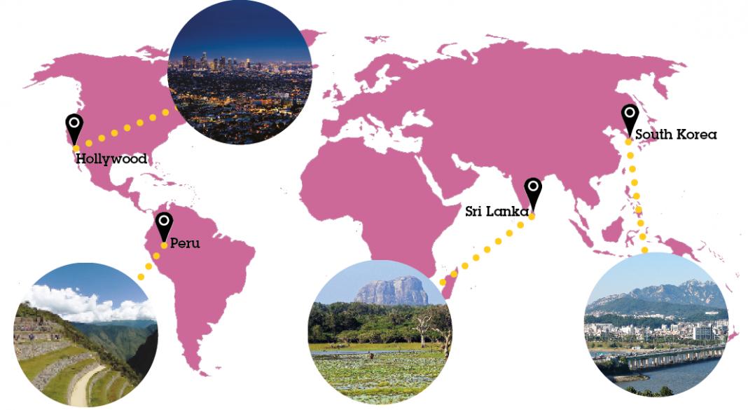 Photos: LA (Pixabay, Upsplash); Machu Pichu (Pixabay, HolaMA); Sri Lanka (Wikimedia, Patty Ho); Seoul (Public Domain Pictures, Neothinker); Map (Wikimedia)
