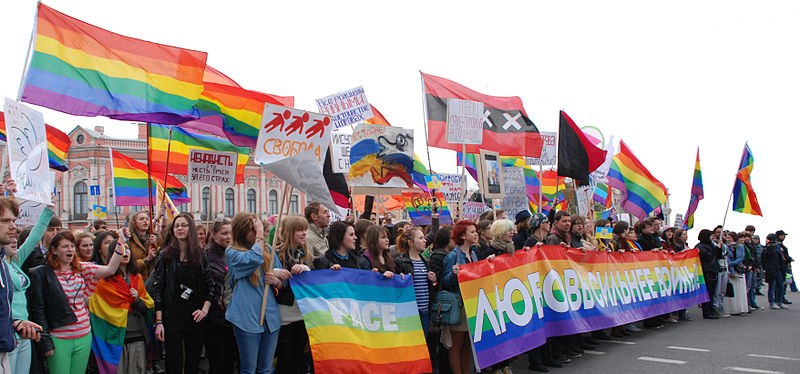 LGBT demonstration in St. Petersburg, 2014. Photo: Wikimedia, InkBoB