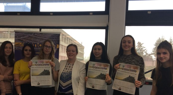 Beth Papworth, Concrete's Science editor, with sixthformers covering the festival.