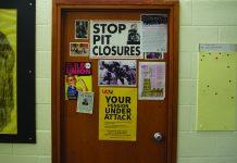 UCU's yellow posters are a common sight on UEA academic's doors. Photo: Matthew Nixon.