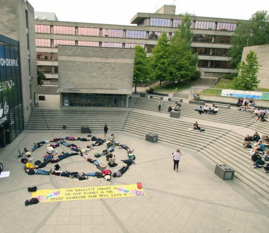 extinction rebellion protest die in university of east anglia UEA