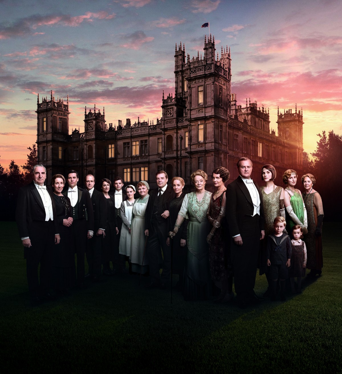 The cast of Downton Abbey stand outside the grand estate in a promo for the finale season.