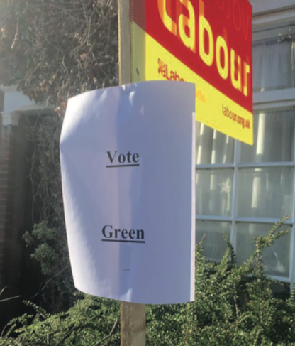 Rogue Vote Green sign that was posted on Labour signs Photo: Labour Party