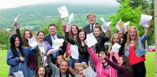 Education Minister John O'Dowd and Employment and Learning Minister Dr Stephen Farry who congratulated St Genevieve's High School pupils Stephen Hare, Jacinta Hamley and David Beattie on their GCSE results. Picture by Brian Morrison. Photo Credit: Flickr, Northern Ireland Executive