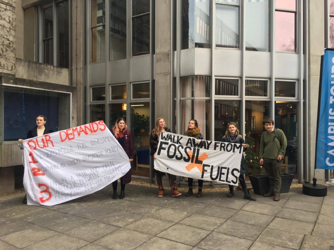 Fossil fuel divestment protest, Lewis Martin