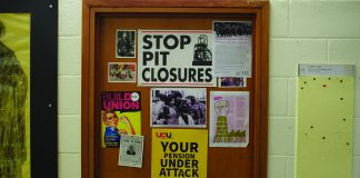UCU's yellow posters are a common sight on UEA academic's doors. Photo: Matthew Nixon.