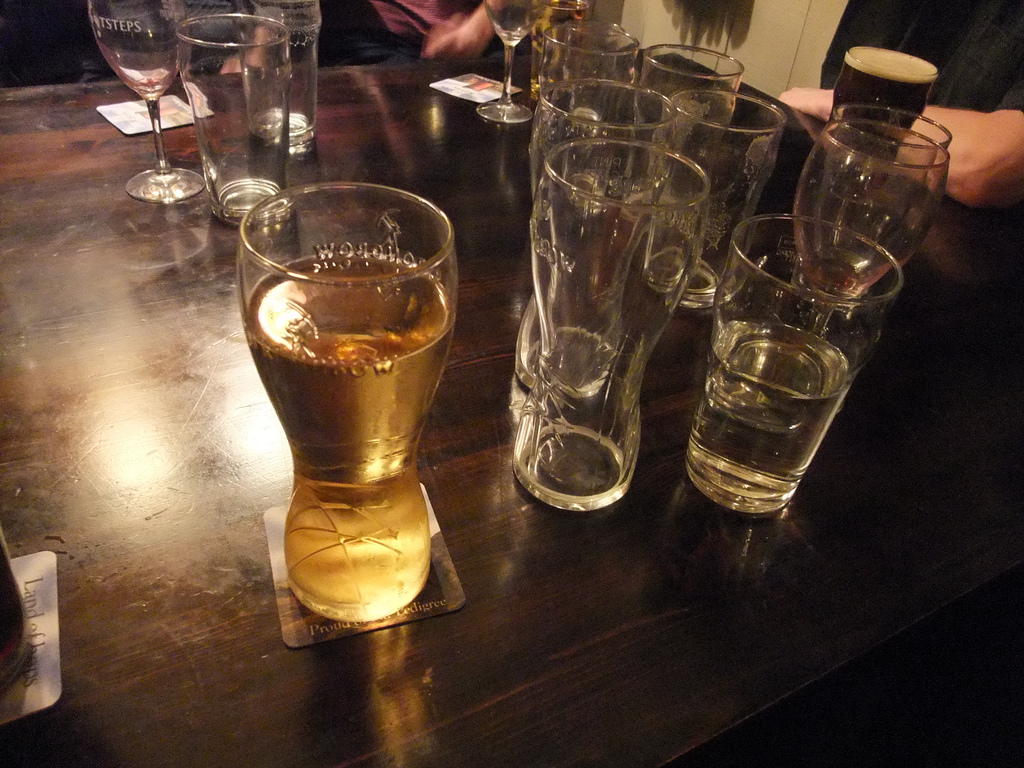 empty pint glasses by Lee Haywood on flickr