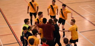 UEA Futsal celebrate beating Anglia Ruskin