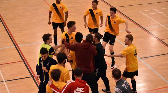 UEA Futsal celebrate beating Anglia Ruskin